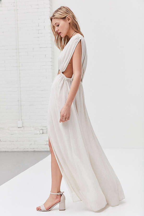 ASTR Octavia Gauzy Cutout Maxi Dress
