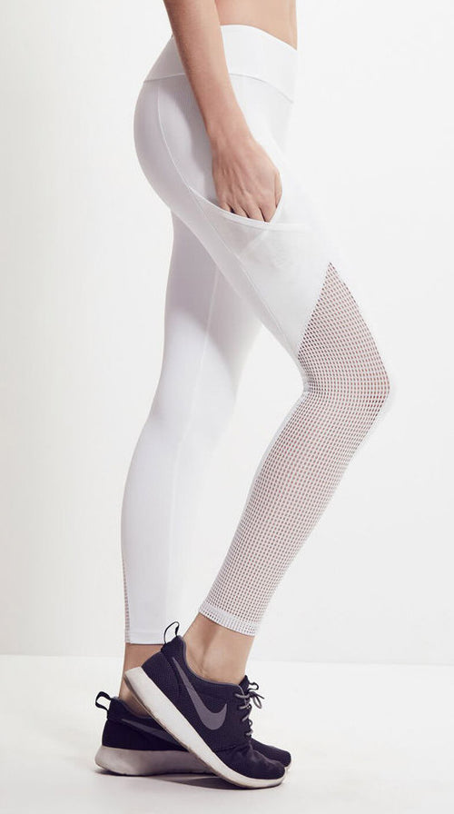Lanston Grayson Mesh Panel Pocket Legging White