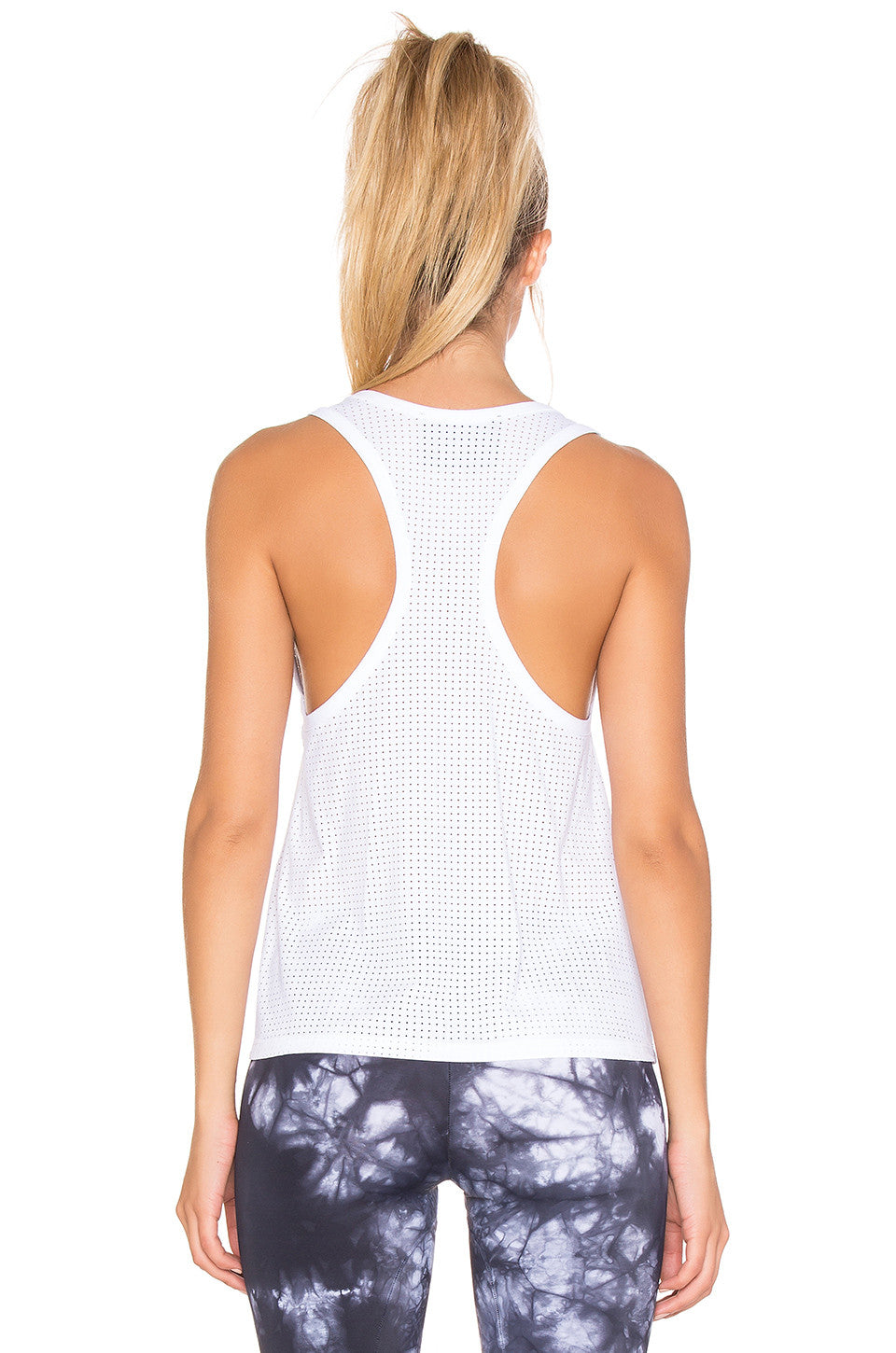 Blue Life Fit Mesh Muscle Racerback Crop Top