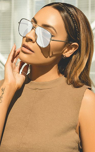 Quay High Key Silver Mirror Sunglasses