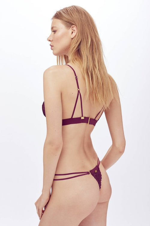 For Love and Lemons Bra Undie Pack Eggplant