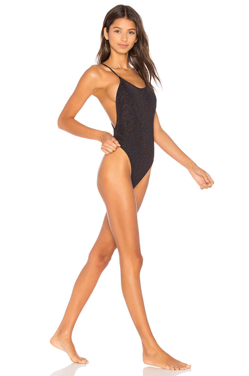 Motel Crave One Piece Glitter Black