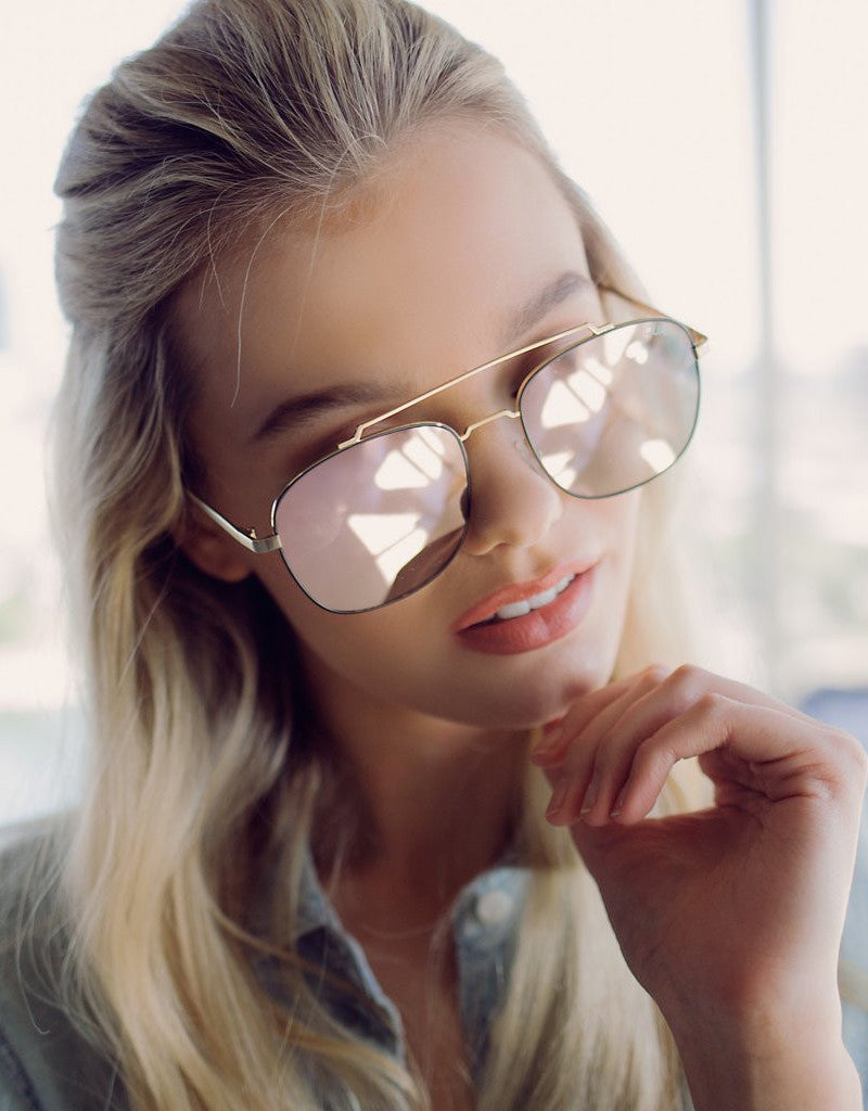 Quay To Be Seen Gold Sunglasses