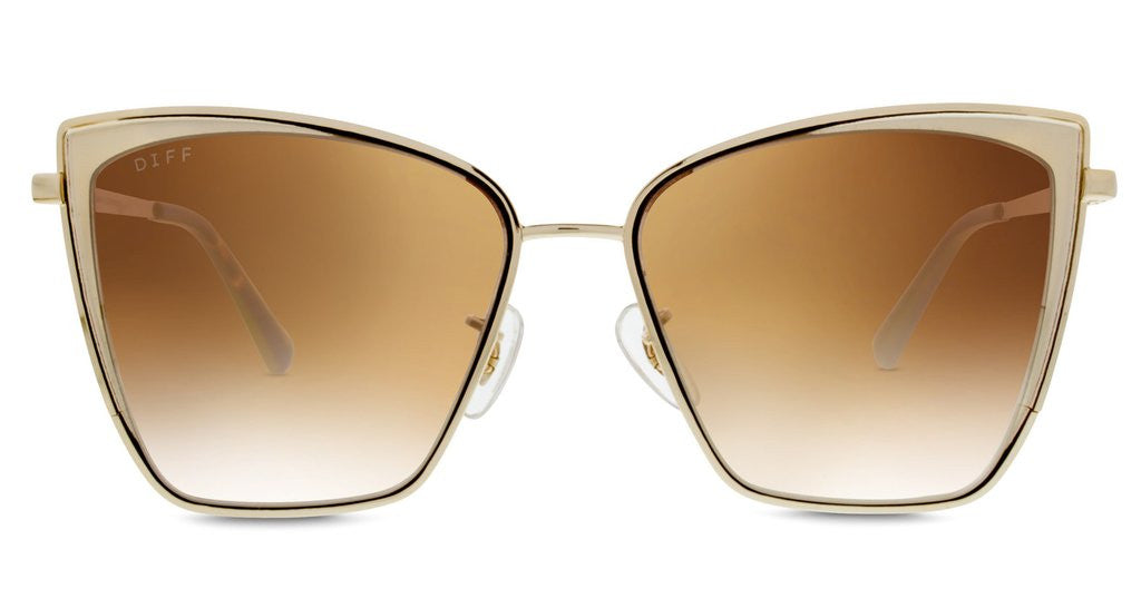 Diff Eyewear Becky Gold Brown Gradient Sunglasses