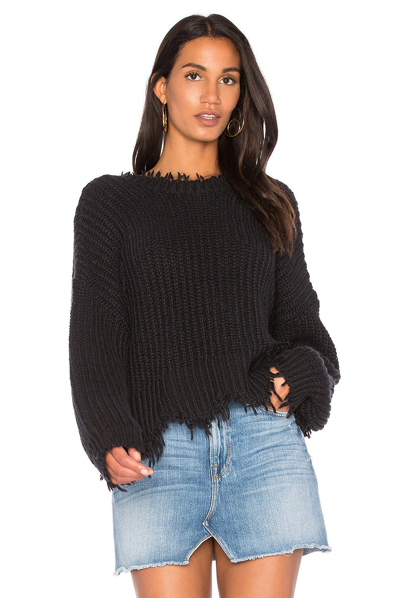 Wildfox Palmetto Fringe Sweater Black