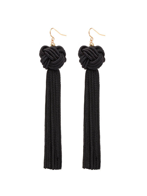 Vanessa Mooney Astrid Knotted Tassel Earrings Black