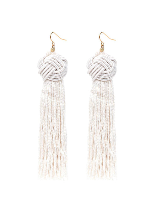 Vanessa Mooney Astrid Knotted Tassel Earrings Ivory