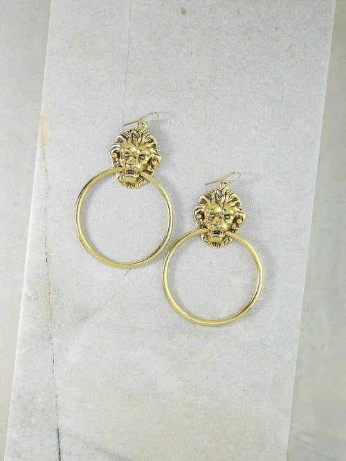 Vanessa Mooney The Vandal Door Knocker Earrings Gold