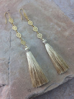 Vanessa Mooney The Estella Tassel Earrings Cream