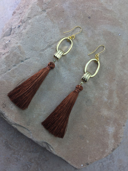 Vanessa Mooney The Cleo Tassel Earrings Brown