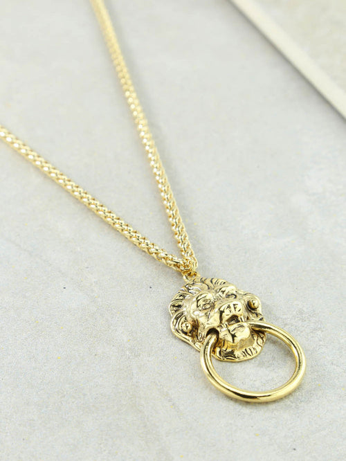 Vanessa Mooney The Vandal Door Knocker Necklace Gold