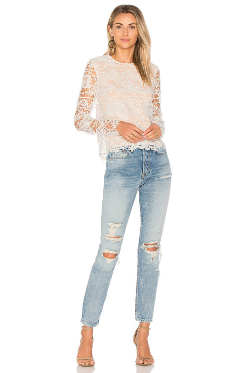 Lovers + Friends Lotus White Lace Top
