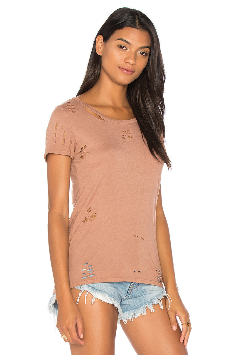 NYTT Distressed Tee Shirt Light Coco