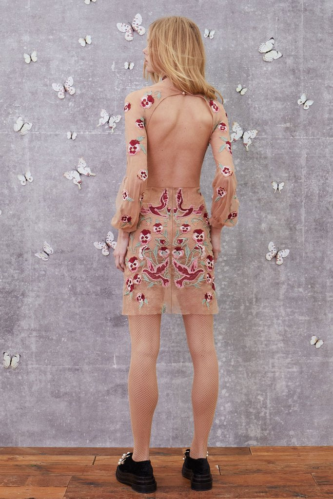 For Love and Lemons Dove Embroidery Mini Dress