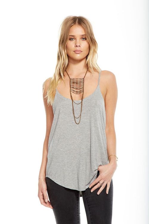Chaser Jersey Strappy Scoop Neck Shirttail Cami Tank