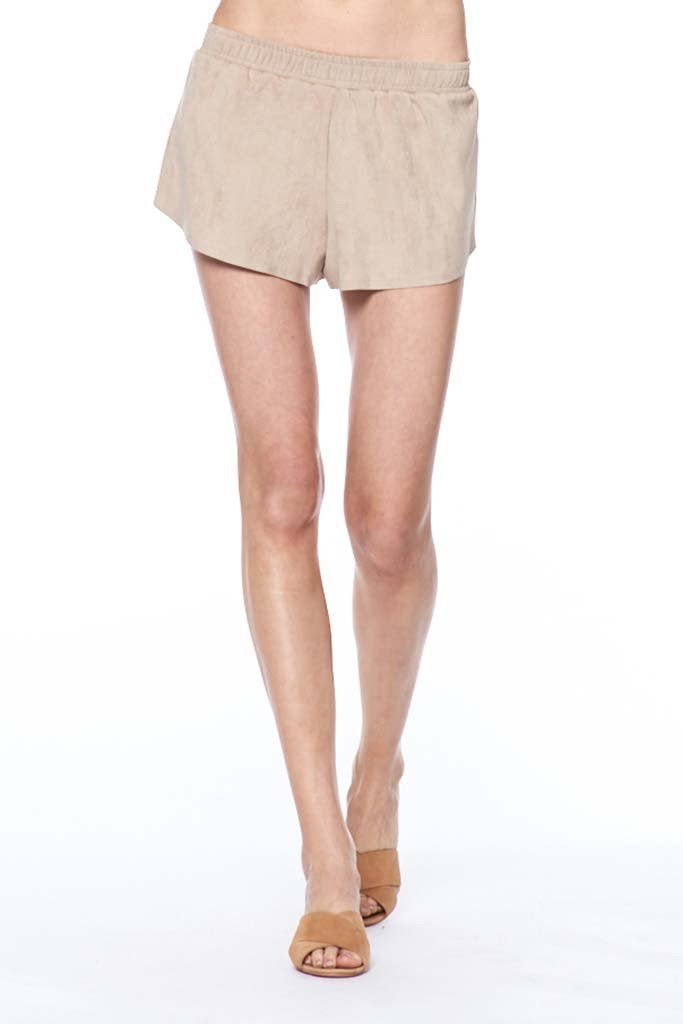 David Lerner Suede Raw Edge Shorts