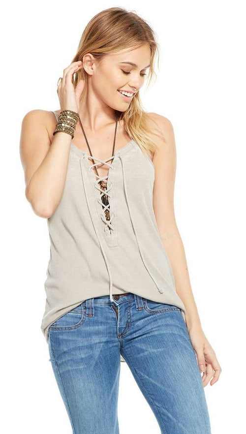Chaser Vintage Rib Lace Up Cami Tank