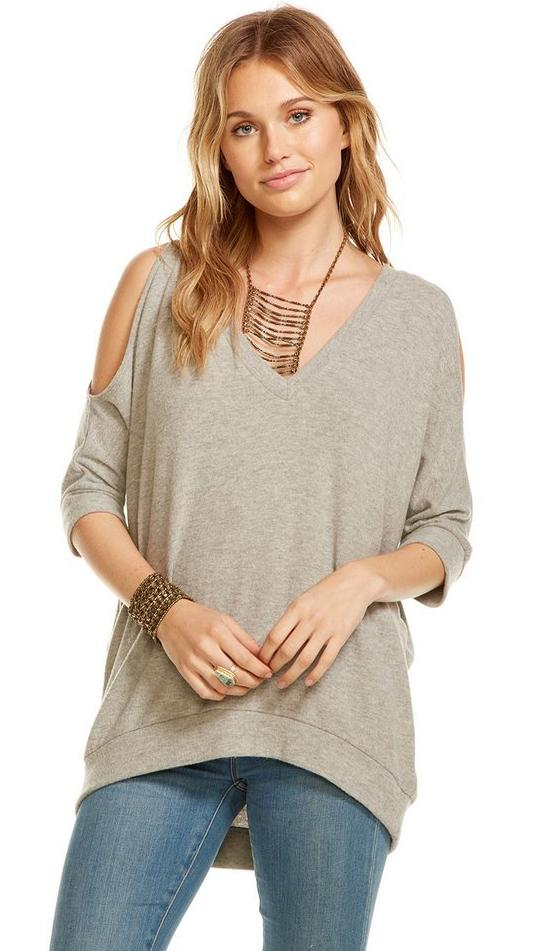 Chaser Love Knit Cold Shoulder Dolman Top