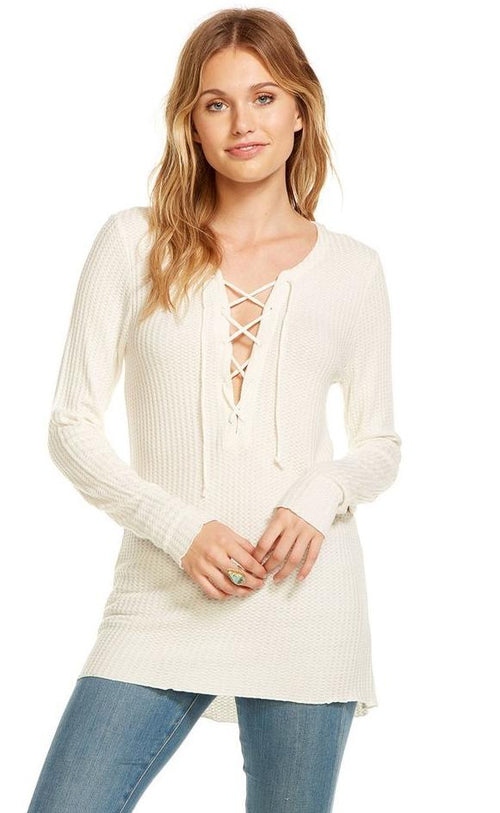 Chaser Thermal Long Sleeve Lace Up Hi-Lo Top