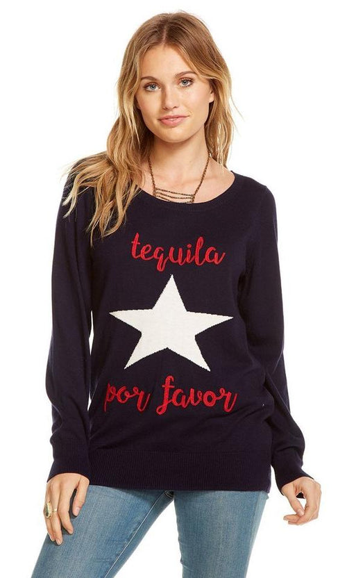 "Chaser Cotton Cashmere ""Tequila Por Favor"" Sweater"