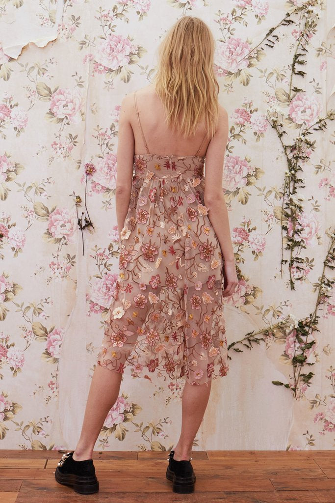For Love and Lemons Botanic Embroidery Midi Dress