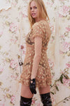 For Love and Lemons Golden Garden Tulle Mini Dress