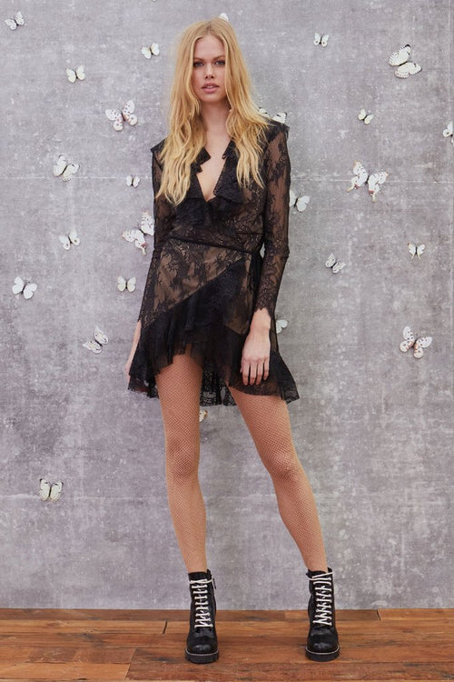 For Love and Lemons Daphne Lace Wrap Dress