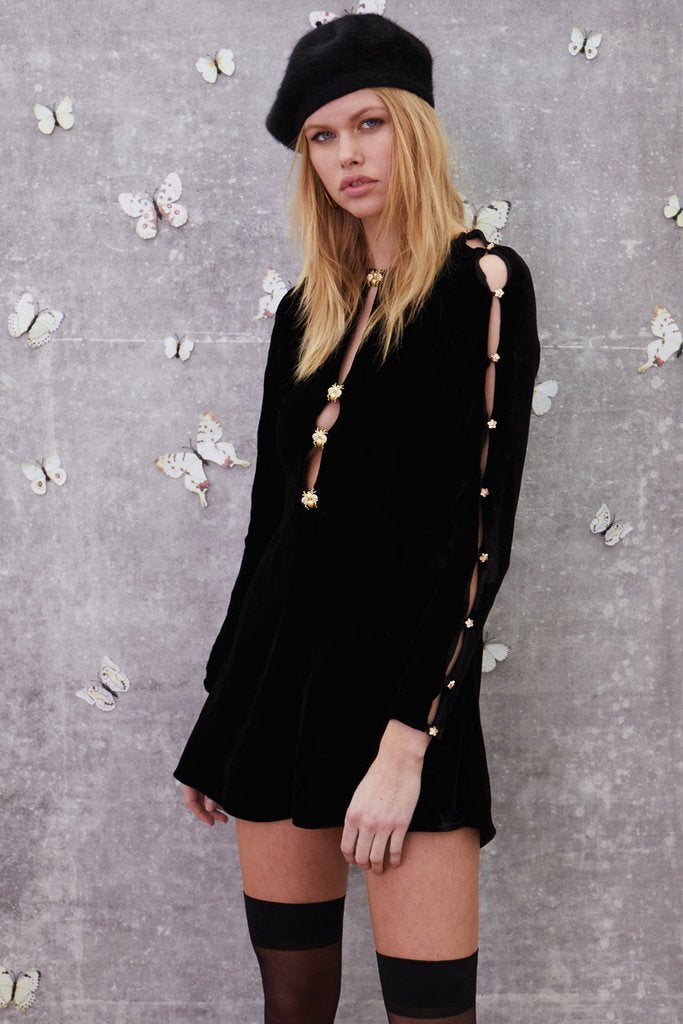 For Love and Lemons Beatrix Velvet Button Sleeve Dress