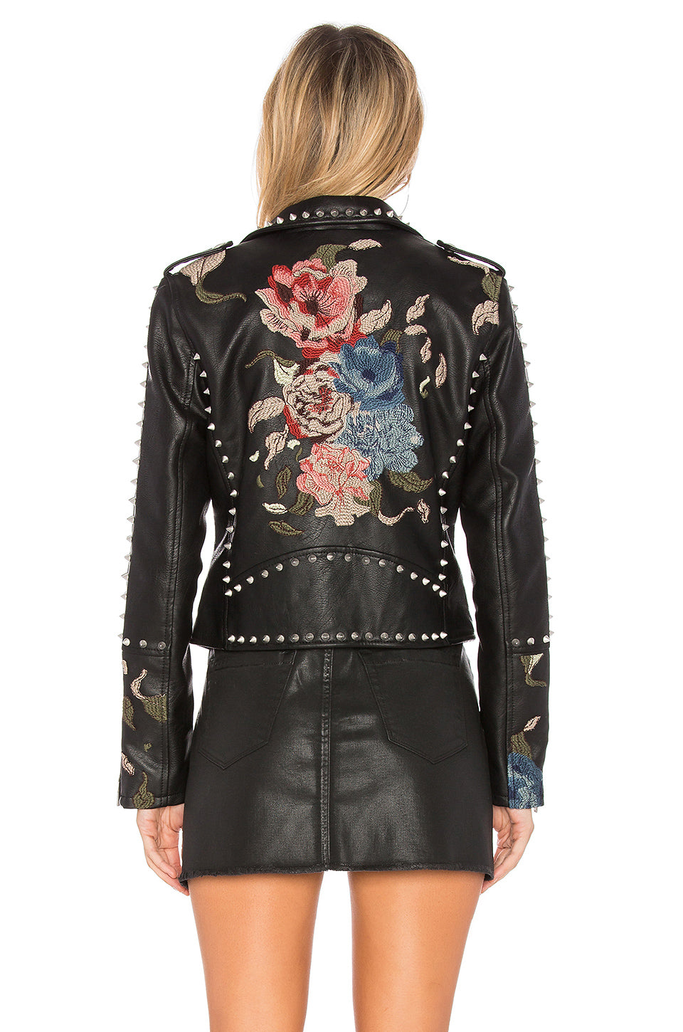 Blank NYC Budding Romance Studded Vegan Leather Jacket