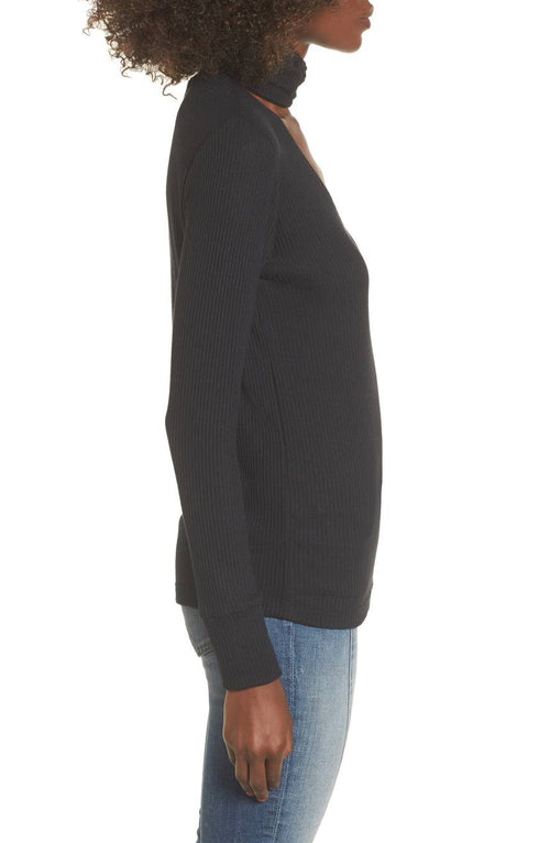 LNA Laced Up Turtleneck Long Sleeve Tee
