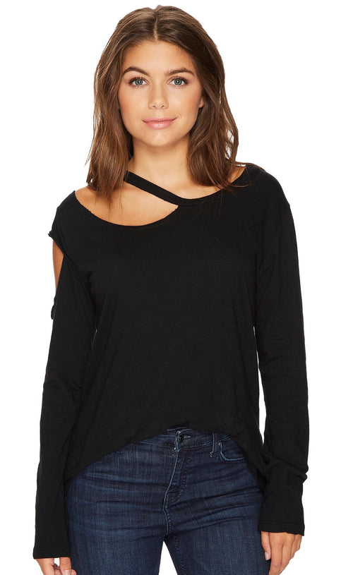 LNA Hamilton Asymmetrical Long Sleeve Top Black