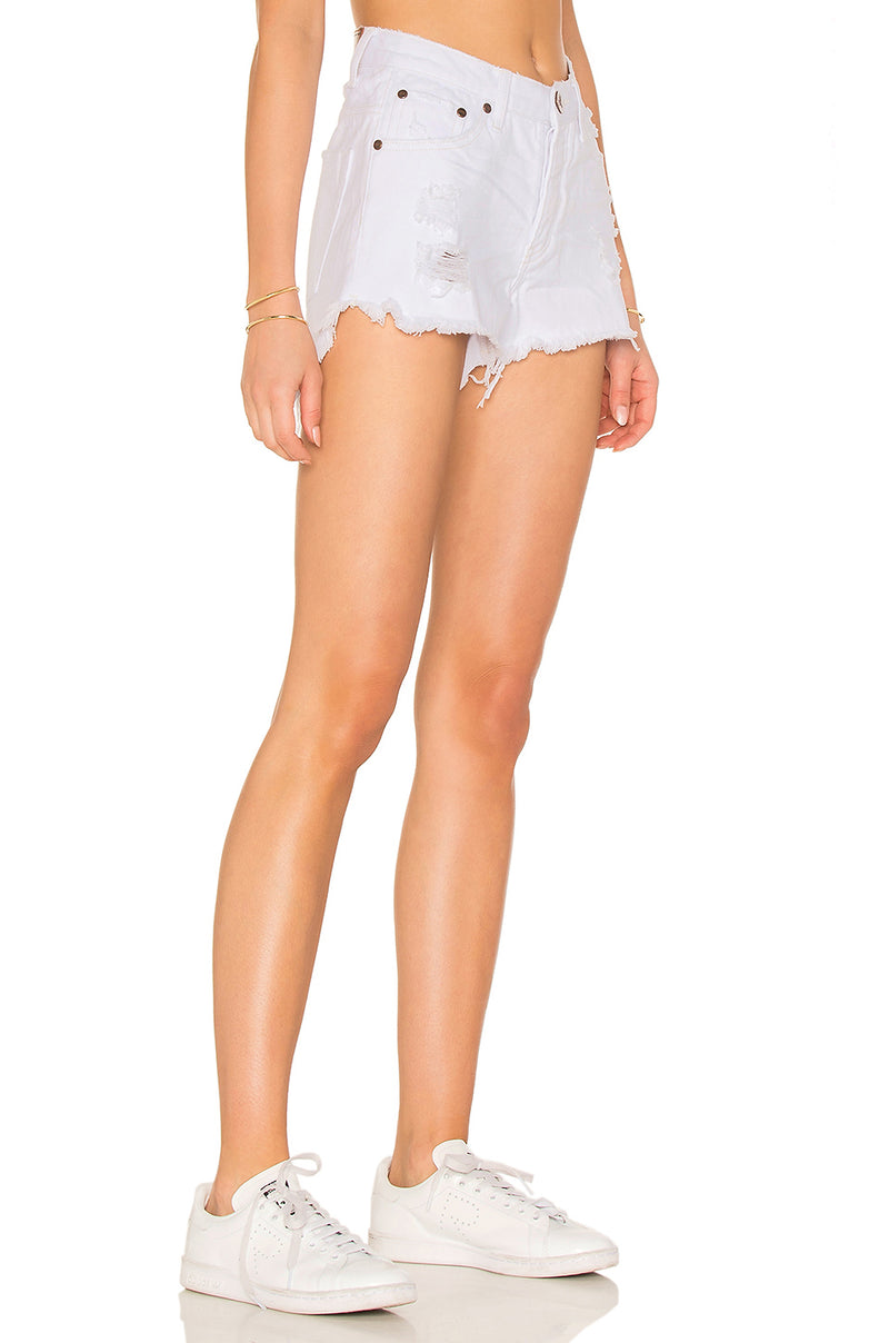 One Teaspoon White Beauty Bonita High Waist Denim Shorts