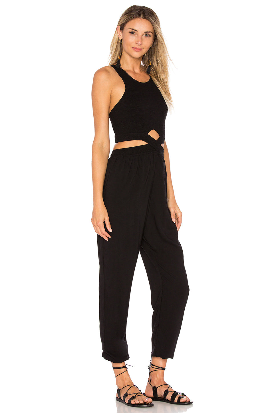 Indah Sima Cut Out Jumpsuit Black