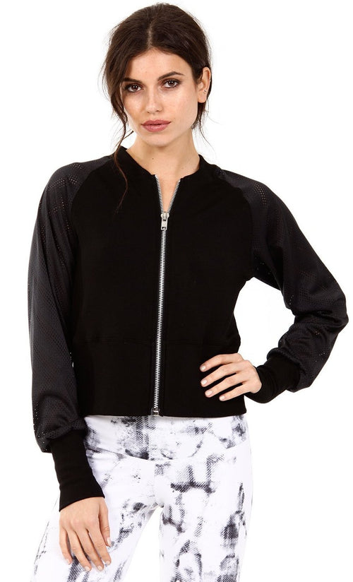 Strut This Jagger Zip Up Mesh Bomber Jacket