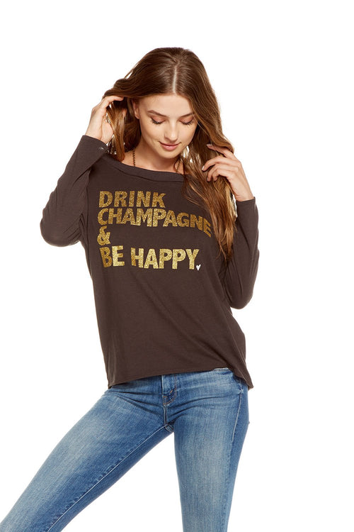 Chaser Happy Champagne Long Sleeve Top
