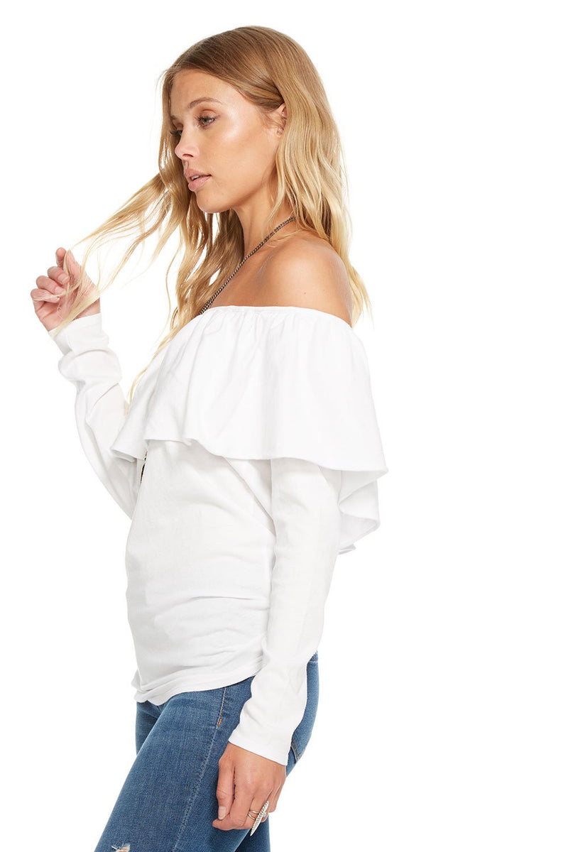 Chaser Gauzy Cotton Jersey Long Sleeve Top