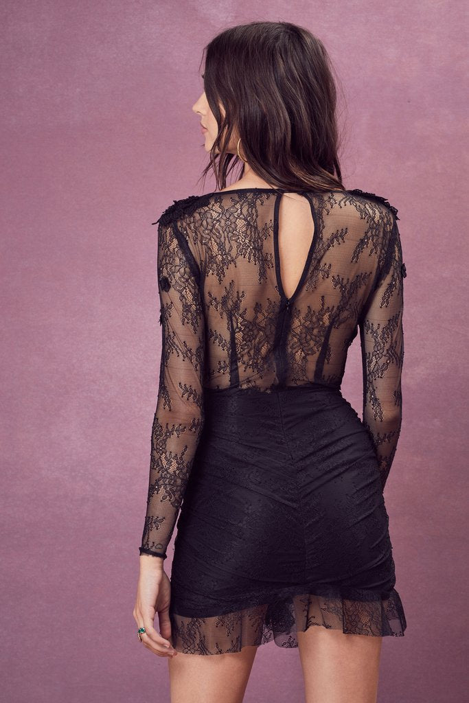 For Love and Lemons Daisy Lace Mini Dress Black