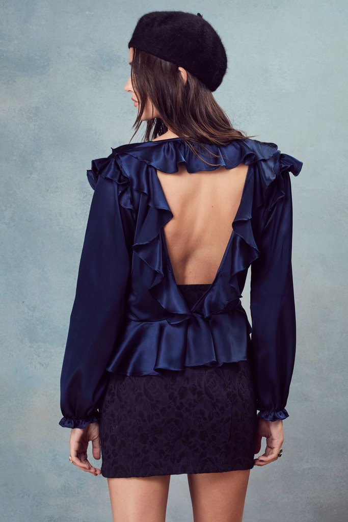 For Love and Lemons Bette Open Back Blouse Navy