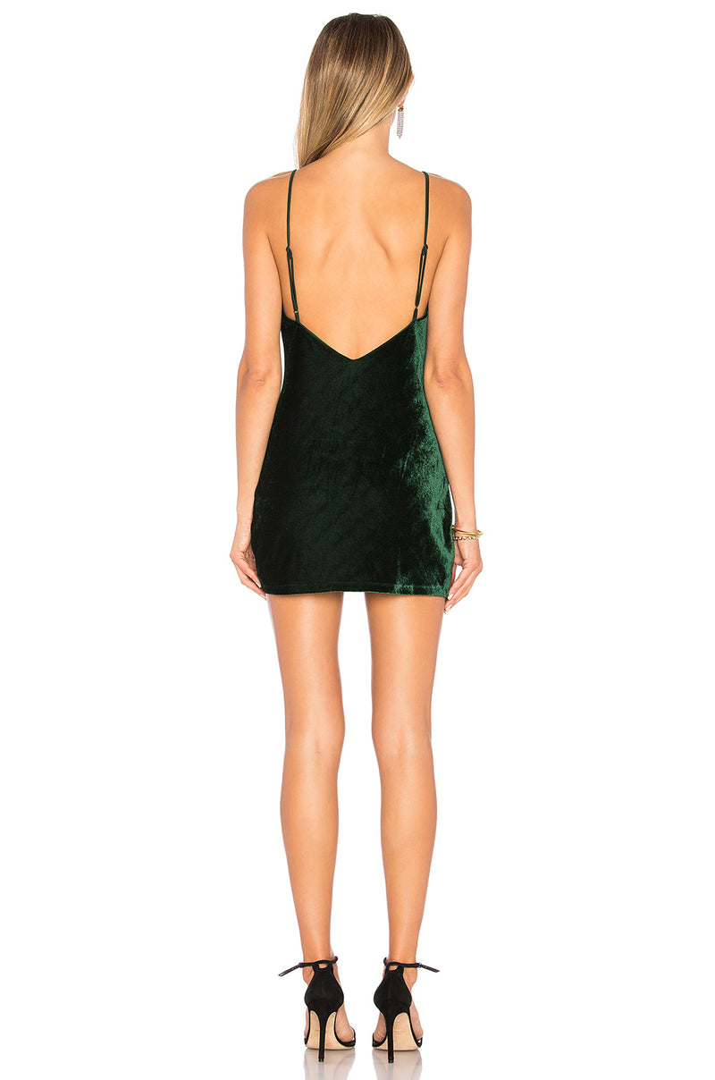 Lovers + Friends Ella Velvet Green Dress