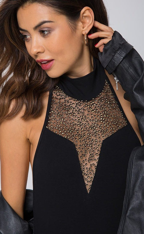 Motel Myla High Neck Glitter Bodice Bodysuit