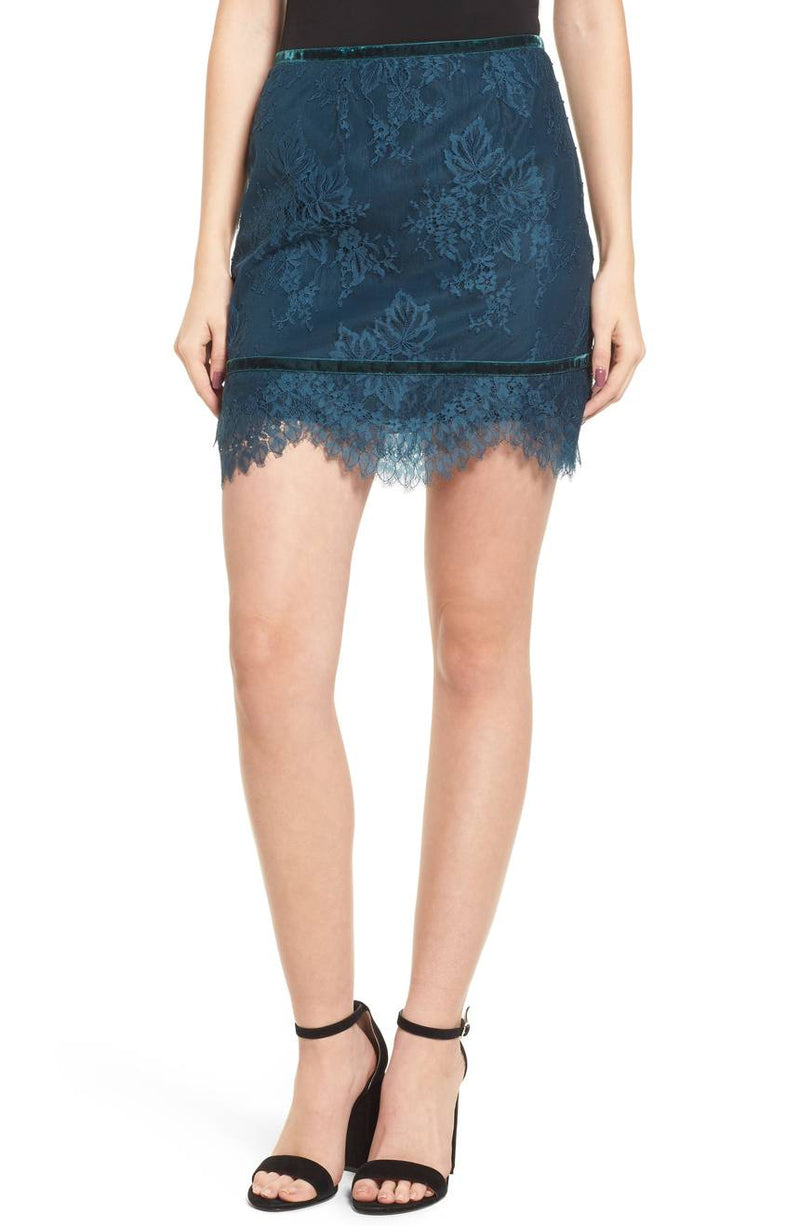 Lovers + Friends Lace Sia Skirt Topaz