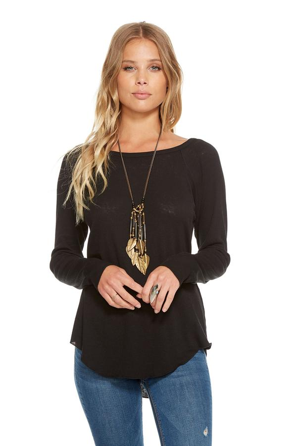 Chaser Vintage Rib Strappy Long Sleeve Top