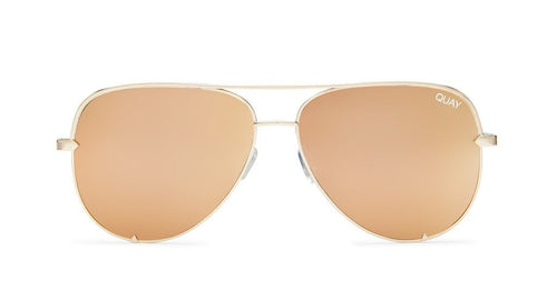 Quay X Desi High Key Mini Sunglasses Gold