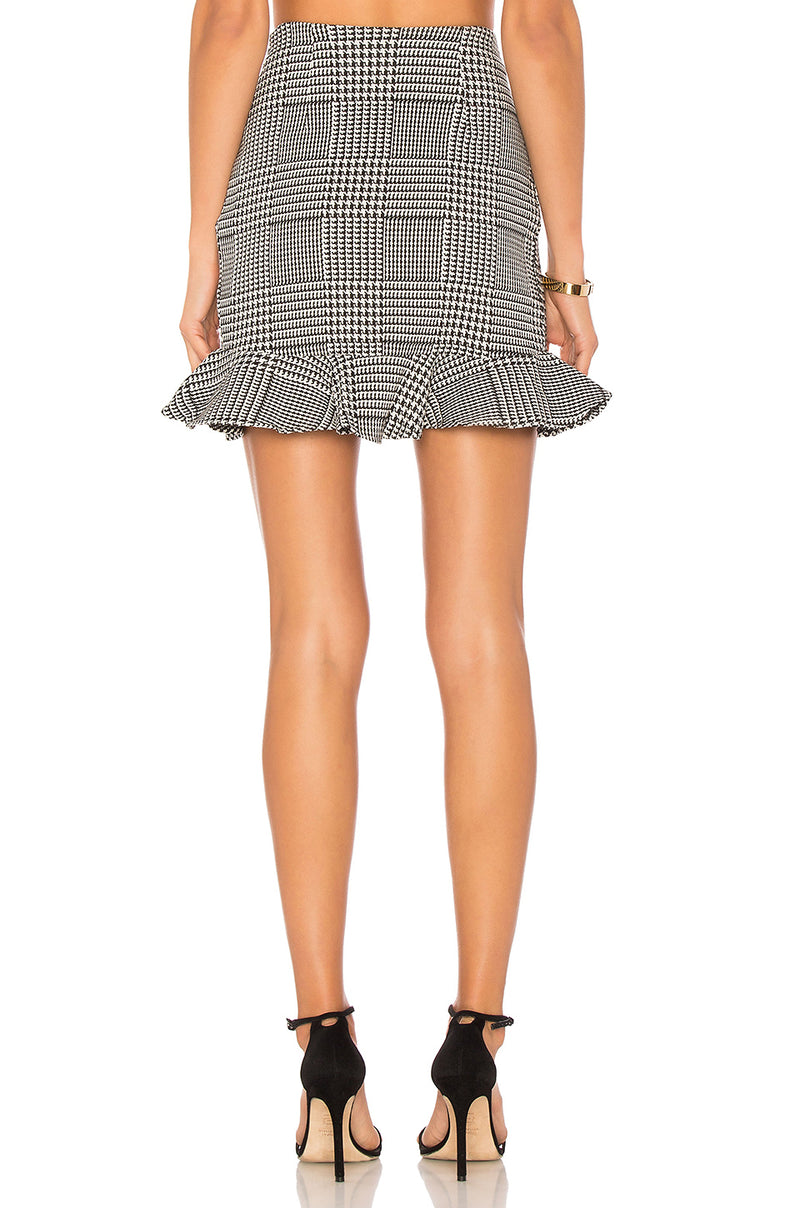 Lovers + Friends Affection Skirt Houndstooth Plaid
