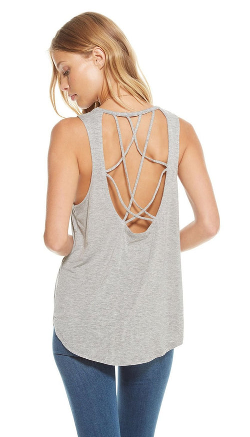 Chaser Cool Jersey Strappy Scoop Back Muscle Tank
