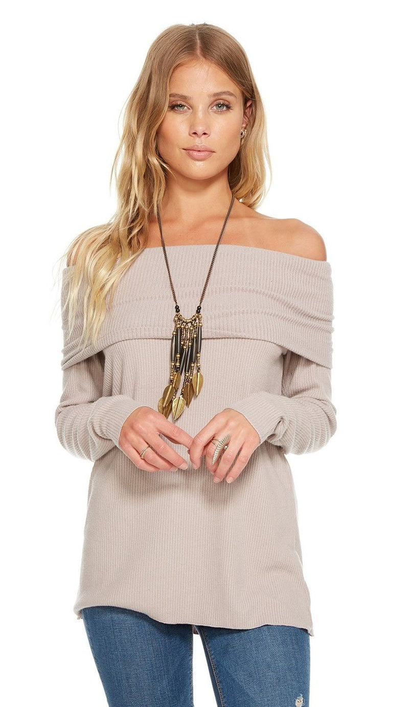 Chaser Love Rib Off Shoulder Sweater
