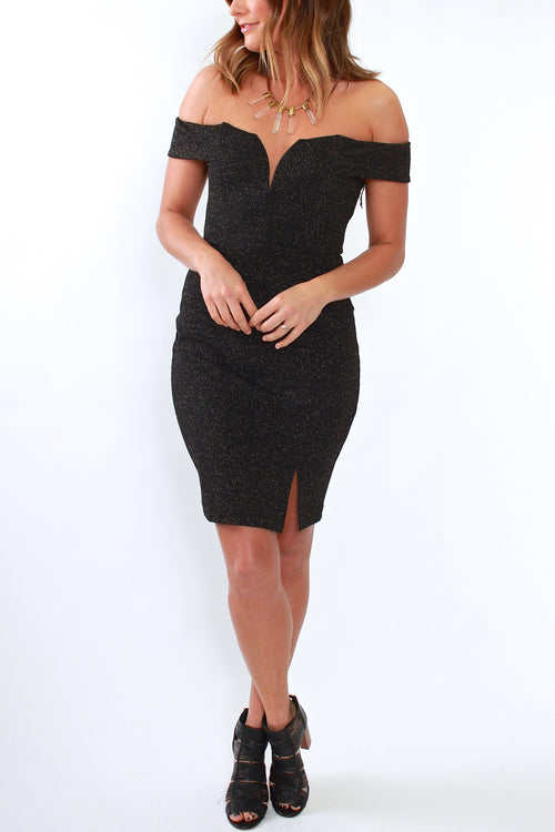 ASTR Off Shoulder Jade Dress Black Sparkle