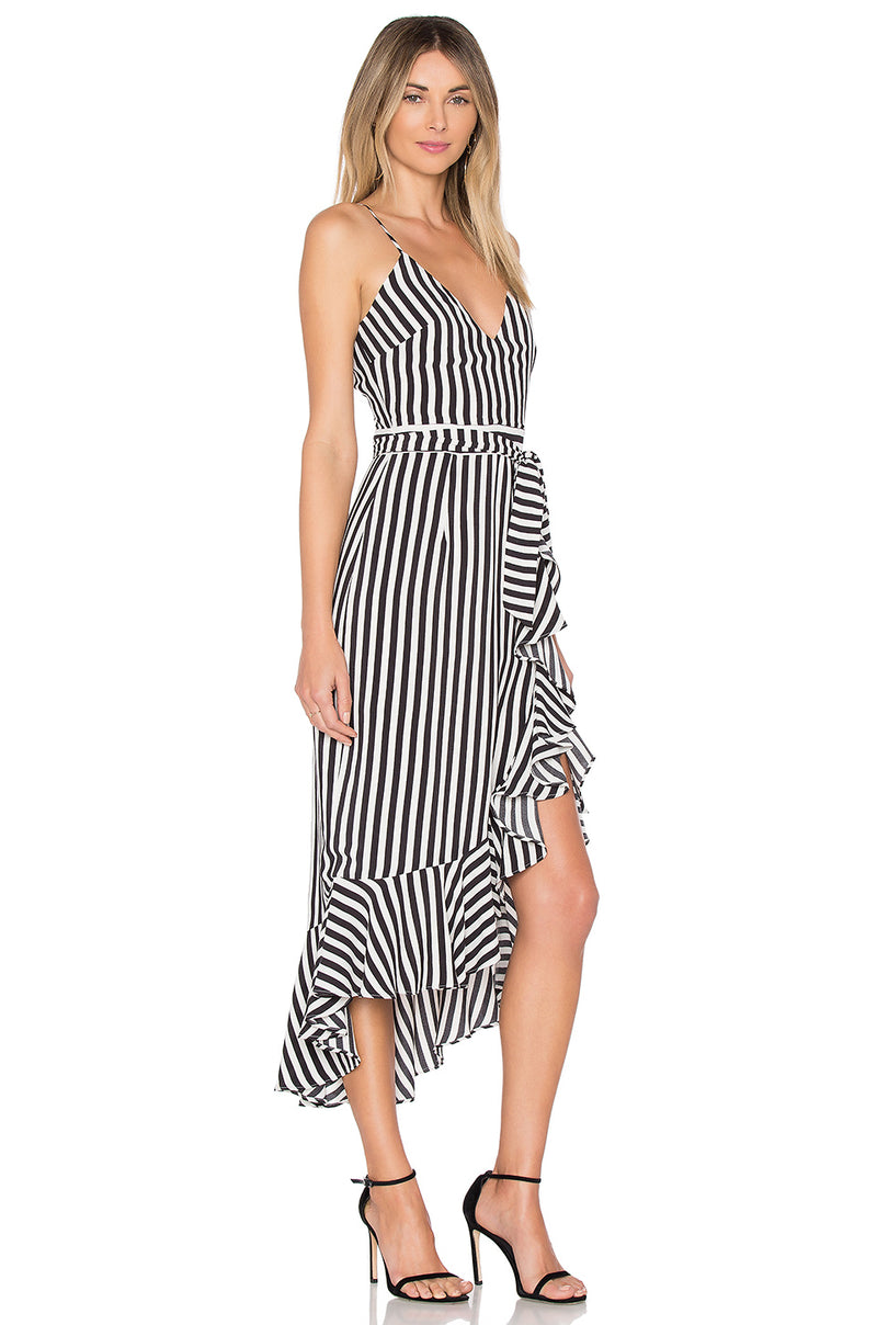 Lovers + Friends Bridget Midi Dress Bold Stripe