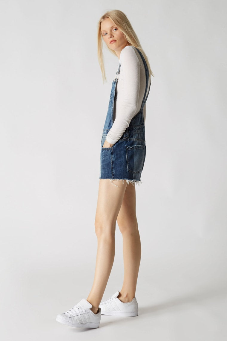 Blank NYC Funny Bone Short Denim Distressed Overalls