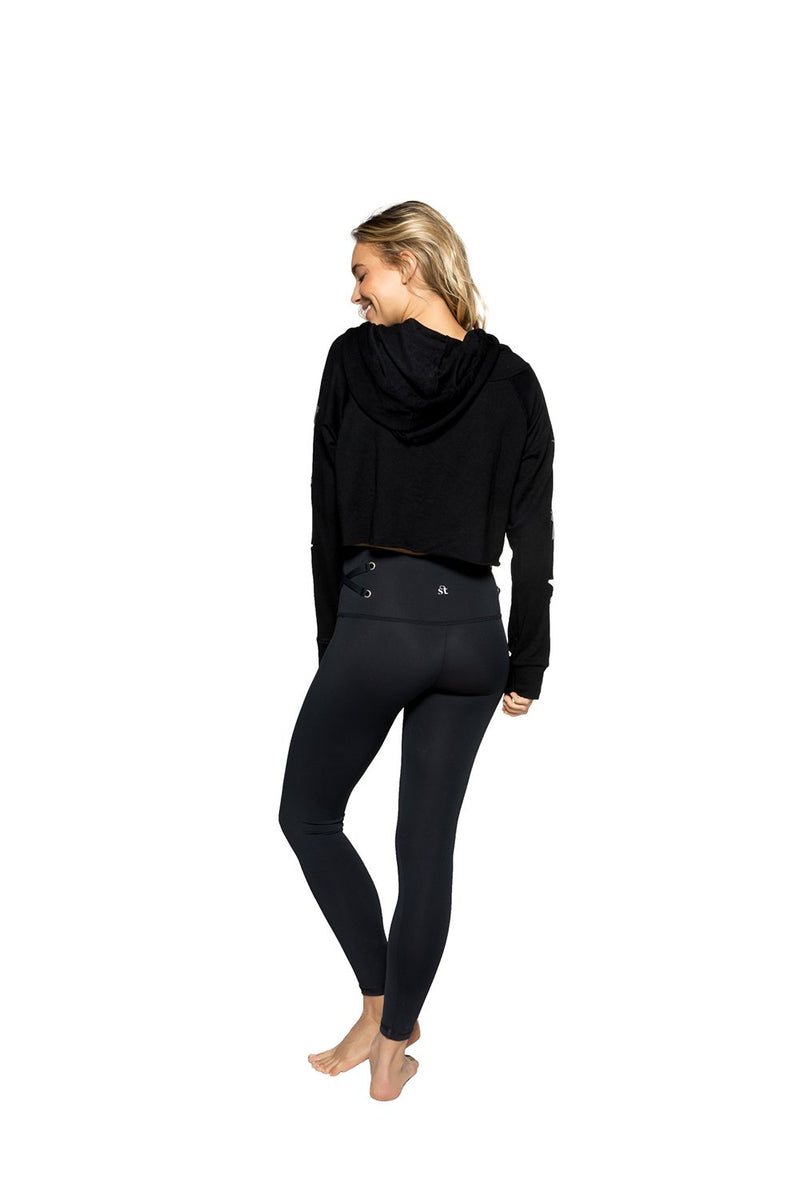 Strut This Crop Hoodie Sweater Black Storm Stars